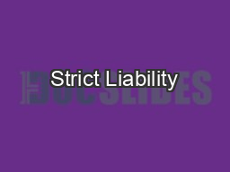 Strict Liability
