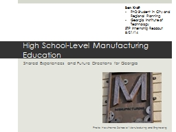 High School-Level Manufacturing Education