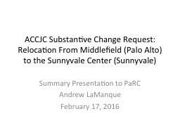 ACCJC Substantive Change Request:  Relocation From Middlefi