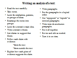 Writing an analysis of a text