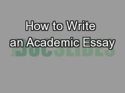 How to Write an Academic Essay