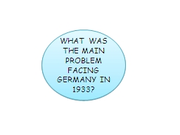 WHAT WAS THE MAIN PROBLEM FACING GERMANY IN 1933?