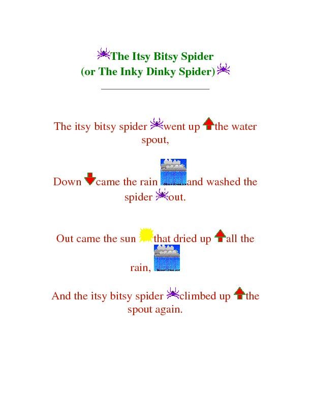 The Itsy Bitsy Spider (or The Inky Dinky Spider)