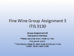 Fine Wine Group Assignment 3
