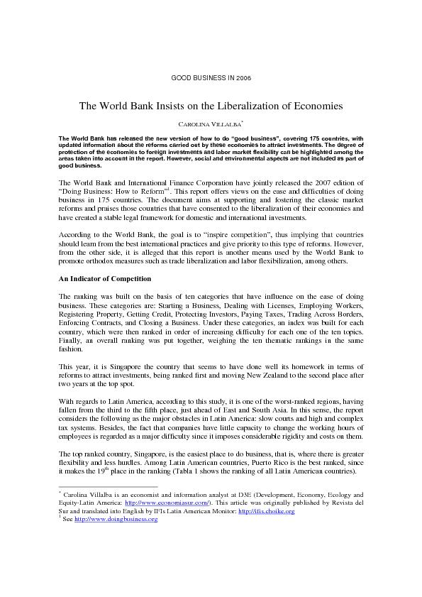GOOD BUSINESS IN 2006  The World Bank Insists on the Liberalization of