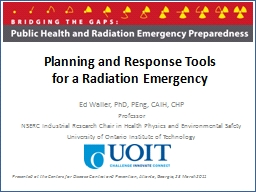 Planning and Response Tools