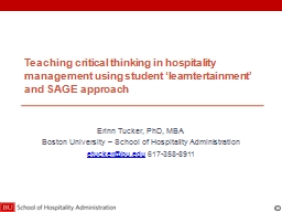 Teaching critical thinking in hospitality management using