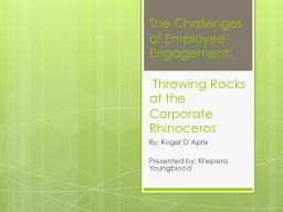 The Challenges of Employee Engagement: PowerPoint PPT Presentation