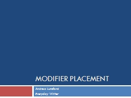 Modifier Placement PowerPoint PPT Presentation