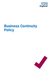 Business Continuity Policy  NHS England INFORMATION RE
