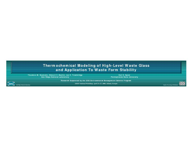 ThermochemicalModeling of High-Level Waste Glass and Application To Wa