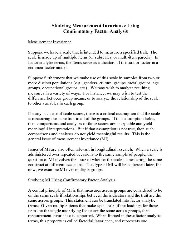 an essay on measurement and factorial invariance The model assuming strong factorial invariance, that is, the model with the between-level residual variances fixed to zero, fitted the data much worse than the first two models based on all fit indices, indicating that strong factorial invariance does not hold across countries.