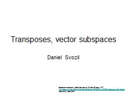 Transposes, vector subspaces