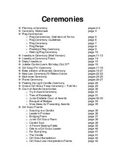 Planning a Ceremony      pages 2-3 Ceremony Worksheet      page 4 Flag