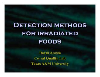 Detection methods for irradiated foods
