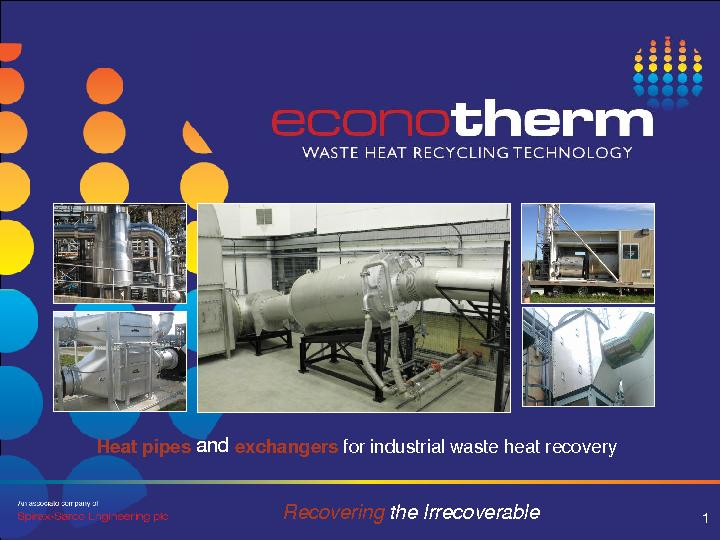 Heat pipes exchangers forindustrial waste heat recovery