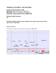 TROPICAL CYCLONE   DAY OUTLOOK Equator to S and E to W PowerPoint PPT Presentation
