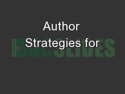 Author Strategies for