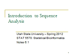 1 Introduction to Sequence Analysis