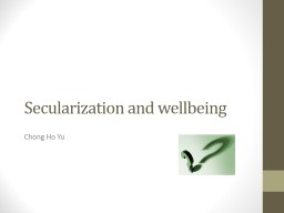 Secularization and wellbeing