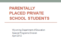 Parentally Placed Private School Students