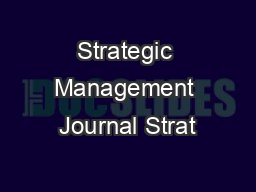 Strategic Management Journal Strat
