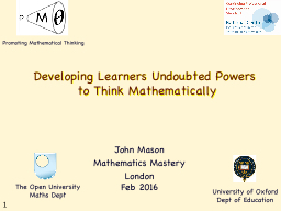 Developing Learners Undoubted Powers