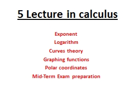 5 Lecture in calculus
