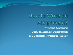 How to Write an Assignment?