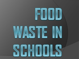 Food waste in schools PowerPoint PPT Presentation