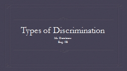 Types of Discrimination PowerPoint PPT Presentation