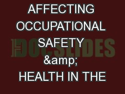 ISSUANCE AFFECTING OCCUPATIONAL SAFETY & HEALTH IN THE
