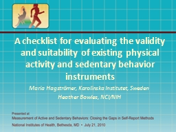A checklist for evaluating the validity and suitability of