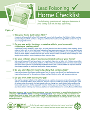 Home Checklist Lead Poisoning A majority of homes buil