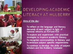 Developing academic literacy at Mulberry