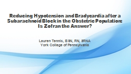 Reducing Hypotension and