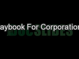 Playbook For Corporations