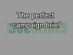 The perfect campaign brief PowerPoint PPT Presentation