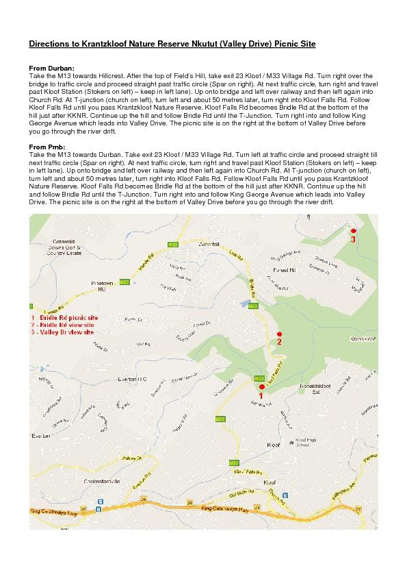 Directions to Krantzkloof Nature Reserve Nkutut (Valley Drive) Picnic