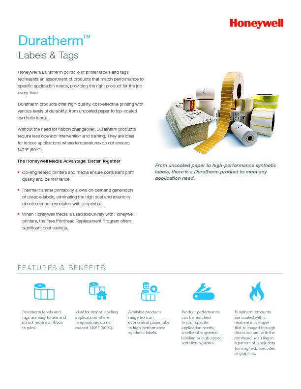 Honeywell's Duratherm portfolio of printer labels and tags  ...