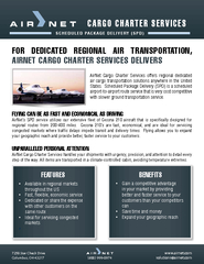 AirNet Cargo Charter Services offers regional dedicate