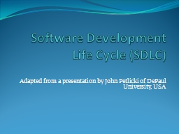 Software Development Life Cycle (SDLC) PowerPoint PPT Presentation