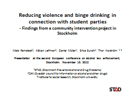 Reducing violence and binge drinking in connection with stu PowerPoint PPT Presentation
