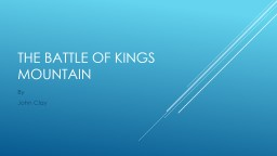 The battle of kings mountain