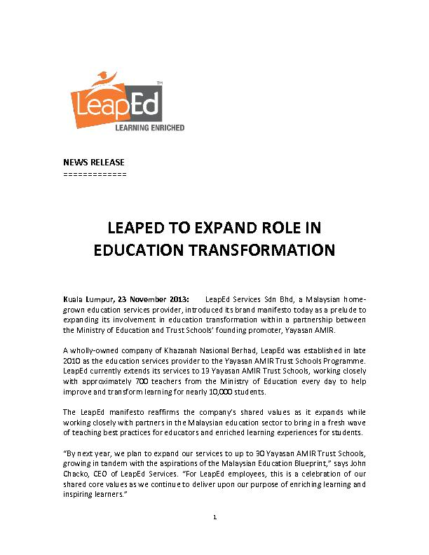 LEAPED TO EXPAND ROLE IN