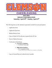 TRYOUT INFORMATION Saturday April  th Sunday April