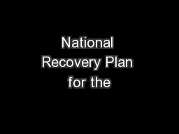 National Recovery Plan for the