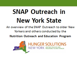 SNAP Outreach in New York State PowerPoint PPT Presentation