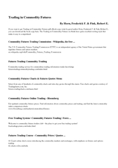 Trading in Commodity Futures By Horn Frederick F PDF document - DocSlides
