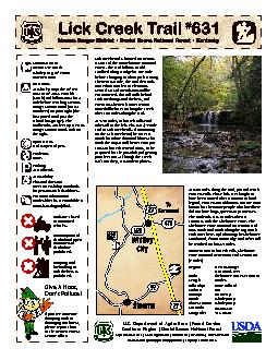 Lick Creek Trail is located on Stearns District of the Daniel Boone Na